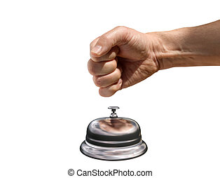 Come quickly - Isolated illustration of a fist banging a...