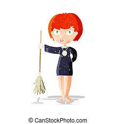 cartoon pretty witch girl