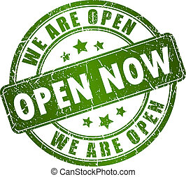 Open now stamp on white background