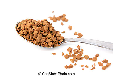 Closeup of a teaspoon of instant coffee granules