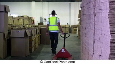 Warehouse worker pulling trolley away form camera in a...