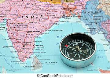 Travel destination India, map with compass - Compass on a...