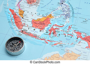 Travel destination Indonesia, map with compass - Compass on...