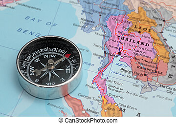 Travel destination Thailand, map with compass - Compass on a...