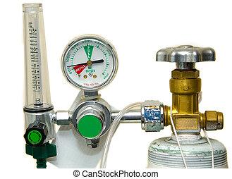 oxigênio, tanque, regulador, Medidas