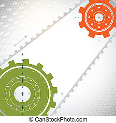 Colorful gears on gray background.