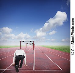 Business obstacles - Businessman run to jumping business...