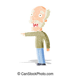 cartoon scared old man pointing
