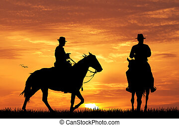 cowboys on horse - illustration of cowboys on horse