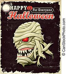Vintage Halloween Mummy poster set