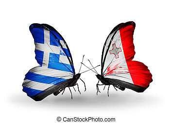 Two butterflies with flags on wings as symbol of relations...