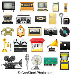 Retro Electronics - easy to edit vector illustration of...