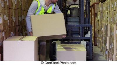 almacén, trabajador, embalaje, boxeas, ,