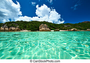 Beautiful beach at Seychelles, La Digue, Anse Source...