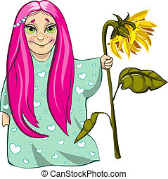 Small girl with sunflower