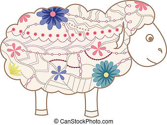 Vintage sheep - vector illustration of vintage sheep