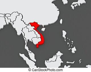 Map of worlds. Vietnam. 3d