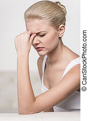 Close up portrait of woman feeling headache. Teen woman...