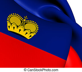 Flag of Liechtenstein. Close Up.