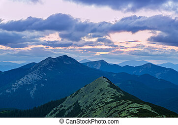 After sunset - Carpathian mountains summer sunset landscape...