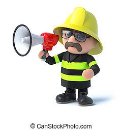 3d Firefighter with a megaphone - 3d render of a fireman...