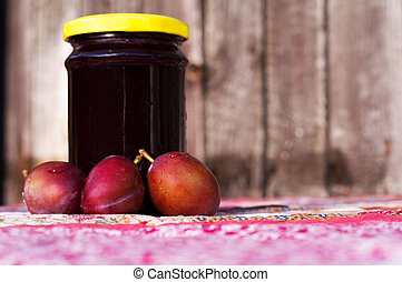 Marmelade - Homemade plum jam with freshly picked plums with...