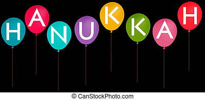 Happy Hannukah party balloons isolated over black