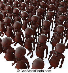 3d Starving African children - 3d render of starving African...