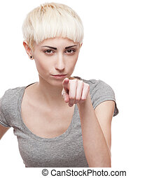 tricky casual blond girl - young casual caucasian blond...