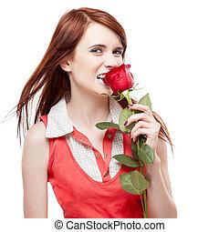 girl holding red rose