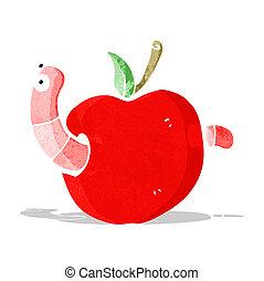 cartooon worm in apple