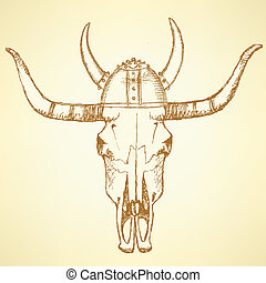 Sketch texas longhorn steer in viking helmet