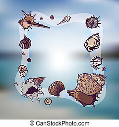 Frame of seashells Summer Template Vector illustration