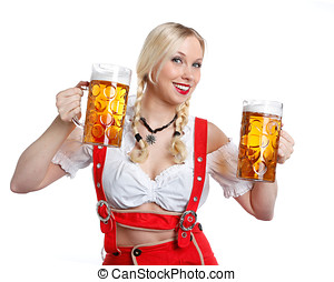 Woman in tiroler oktoberfest style with a glass of beer -...