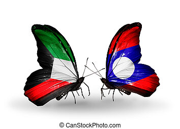 Two butterflies with flags on wings as symbol of relations Kuwait and Laos