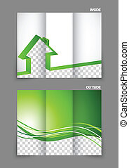 Real estate tri-fold brochure deisgn with stripe house in...