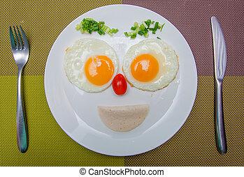 feliz, cara, freír, huevos, desayuno