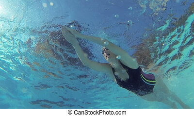 Female swimmer swimming in pool filmed with go pro camera