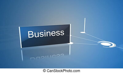 Business buzz words displayed on screens on blue background