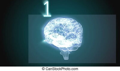 Revolving brain graphic with binary code animation on black...
