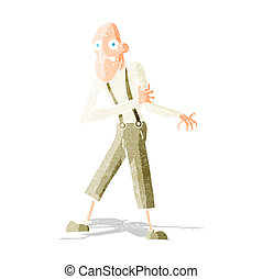 cartoon old man having heart attack