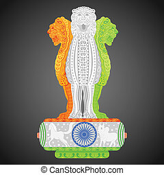 Pillars of Ashoka in Indian flag color - easy to edit vector...