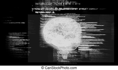 Revolving brain graphic with interface animation on black...