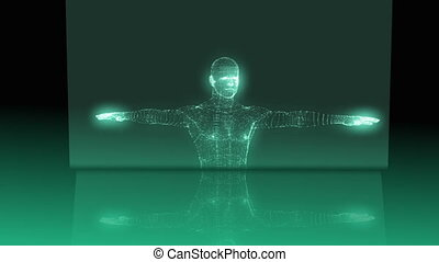 Medical animation with vitruvian man graphic on green and...