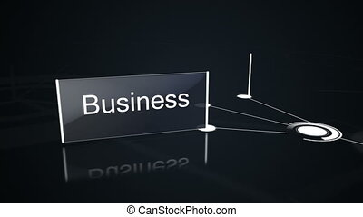 Business buzz words displayed on screens on black background