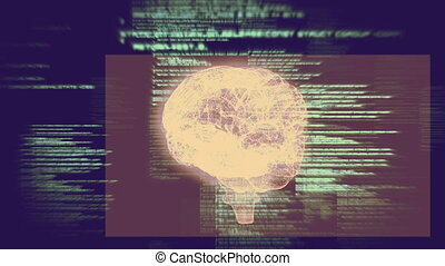 Revolving brain graphic with interface animation on blue...