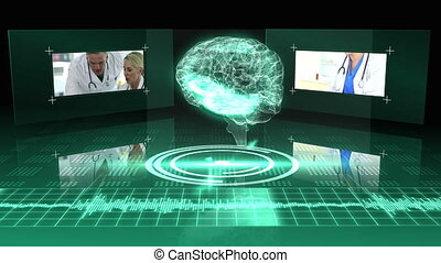 Revolving transparent human brain graphic with interface on...