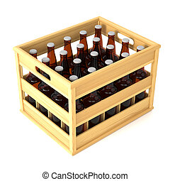 Bottles in wooden crate isolted on white background
