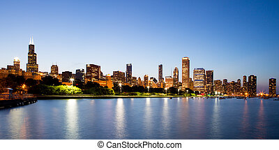 Chicago Skyline at Dusk - The Chicago skyline just after...