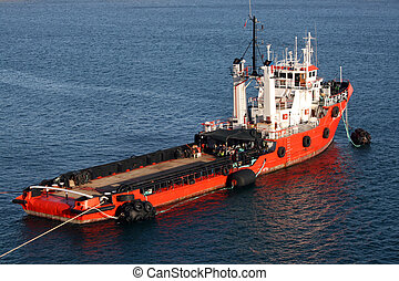 Tug Boat  - red tug boat berthed in Malta